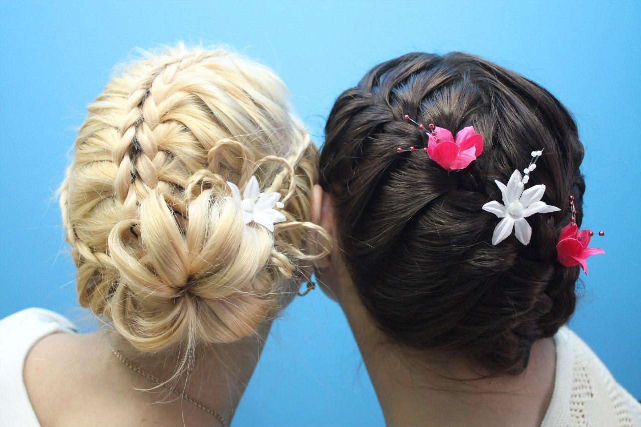 Прически для волос с плетениями колосков